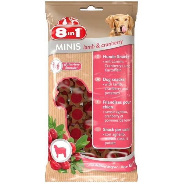 8 in 1 Minis Lamb & Cranberry Kuzu ve Yaban Mersinli Köpek Ödülü 100 gr